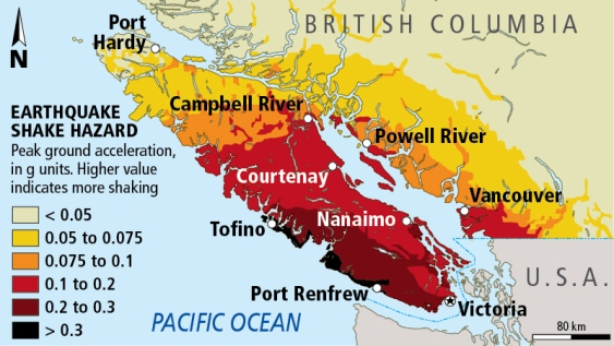 A earthquake hazard map for Vancouver Island