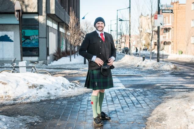 Portraits of Montreal photo of Jade Sambrook wearing the Black Watch tartan kilt.