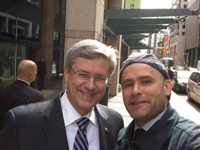 Blackberry photo of Jade Sambrook and Prime Minister Harper
