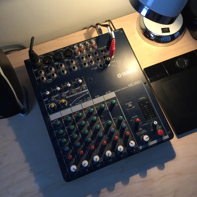 A Yamaha MG102c Mixing Board