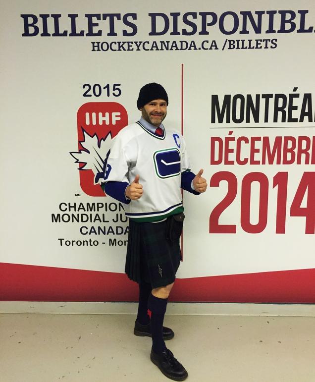 Jade Sambrook sporting a Black Watch tartan kilt with a Vancouver Canucks Hockey jersey