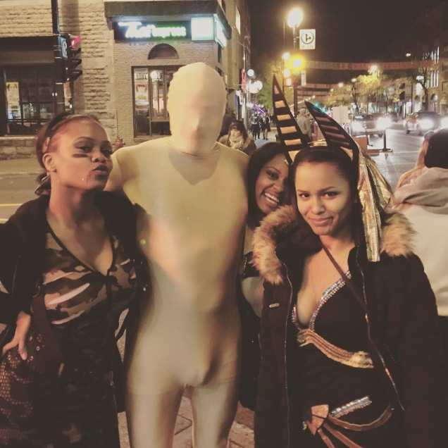 Wearing a morphsuit, Jade Sambrook poses for a photo on Halloween night in Montreal.
